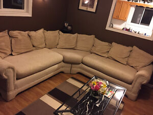 Cream coloured sectional for sale