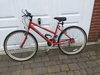 Women's red Raleigh mountain bike