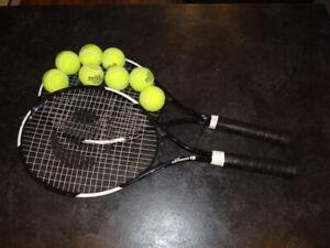 Lot de 2 Raquettes de tennis + 8 balles