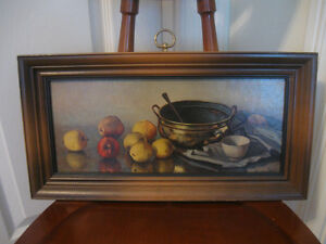 ATTRACTIVE RECTANGULAR HANK BAY[signed] STILL LIFE KITCHEN PRINT