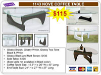 COFFEE TABLES, TV STANDS, CONSOLE TABLES- Brand New