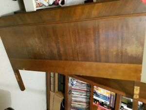 Antique Solid Wood Double Headboard and Footboard