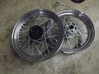 2 Factory Harley 16' Spoked Wheels and Wide White Wall Tires