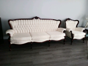 Traditional sofa and chair set.