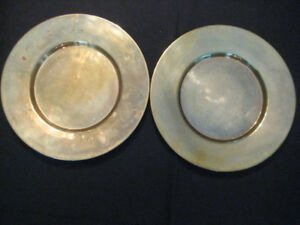 """Vintage Set of 2 Solid Brass 11 1/2"""" Charger Round Plates"""