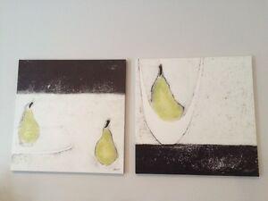 Decor mural 2 cadres / wall art pears