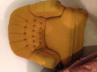 Comfortable woolly mustard color chair