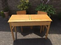 Vintage double school desk with chairs
