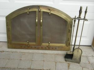 Fireplace Front Insert and Tool Set.