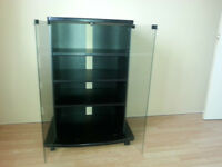 Black Commode  with glass doors  and wheels