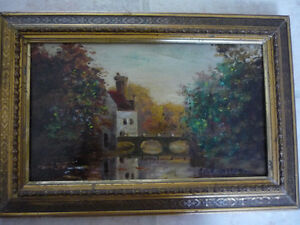 SMALL SIGNED ORIGINAL COUNTRYSIDE PAINTING ON WOOD PANEL $25