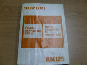 1988 SUZUKI RM125 OWNERS MANUAL Cambridge Kitchener Area image 1
