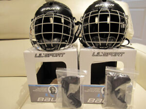 2 Bauer Lil' Sport Hockey Skate Youth Face Cage Helmet 48.5-54cm