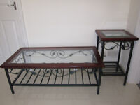 Matching Set Low Rectangle Coffee Table with Tall Hallway Stand Glass Metal Wooden Green