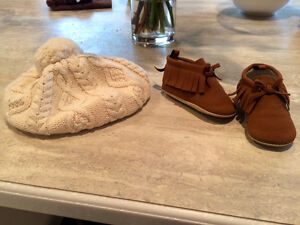 Cute baby beenie and brown fringe bootie