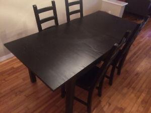 Ensemble table et chaises ikea noir