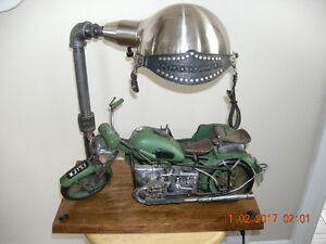 Hand Crafted 1930's Circa Metal Motorcycle/Side Car Lamp