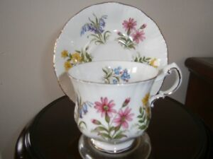 LOVELY PARAGON 'ENGLISH FLOWERS' CUP AND SAUCER