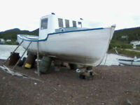 25ft Wooden Boat, Fibreglass Over Wood
