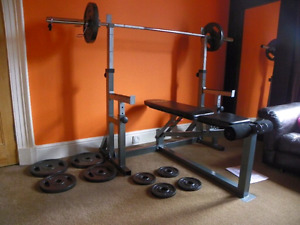 Olympic bar, bench, weights, squat rack