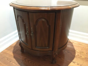 Solid Wood Round Antique Style Cabinet Side Table