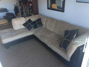 Sectional couch- brown & beige- great condition