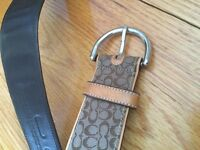 COACH unisex brown leather belt