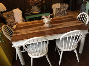 Restored&Refinished Solid Hardwood Reclaimed Table/Bench/Chairs