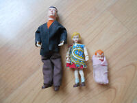 3 VINTAGE Doll House Dolls Man Girl Child Baby Infant Posable