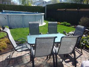 Ensembles de patio véranda 4 chaises et 2 chaises bercente