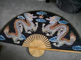 Decorative painted large fan