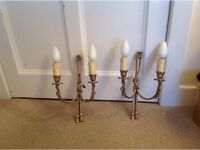Rope, Tassel Solid Brass,Gold Double Wall Lights Candle Pair