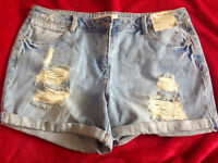 Womans light blue denim shorts size 14 new