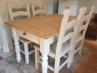 Amazing Shabby Chic Chunky Farmhouse Pine Table With Cutlery Drawer and 4 Chairs