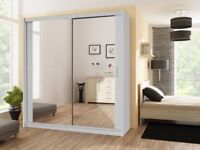 Brand new 2 or 3 Door Sliding Mirrored Wardrobe with Shelf, Mirror, Rails, Drawers in many Colours