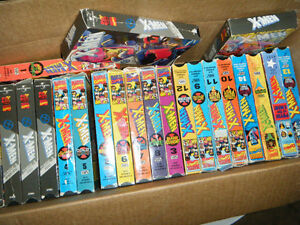 Box of XMEN animated TV show VHS tapes.