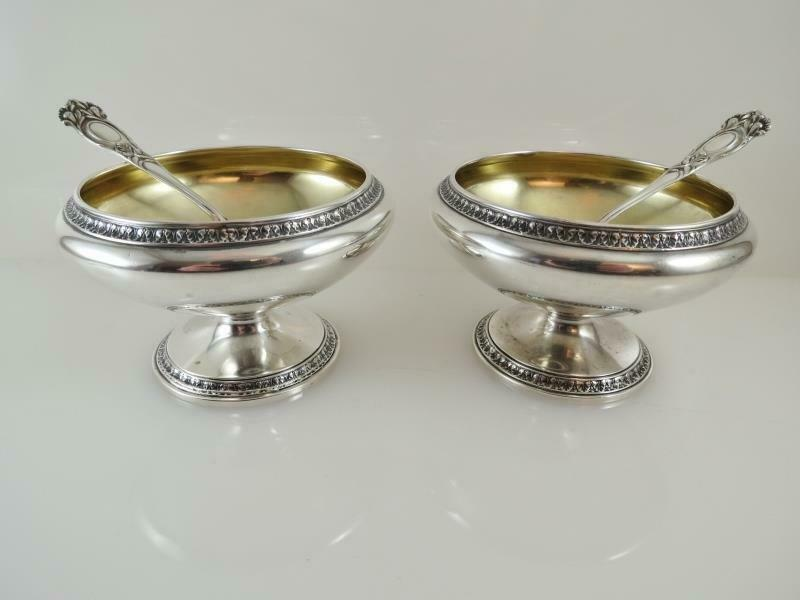 Pair Gorham Sterling Arts & Crafts Master Salt Cellars Spoons_Gold Pedestal Bowl