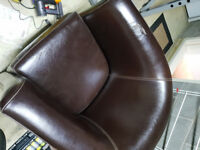 Brown Tub Chair with Beige Stitching