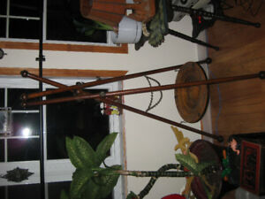 Antique wood tripod hall tree and umbrella stand
