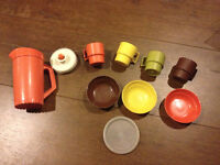vintage Tupperware toy dishes