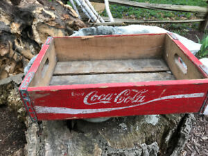 TWO VINTAGE RED 1960s COCA-COLA COKE HALF SIZE WOOD BOX