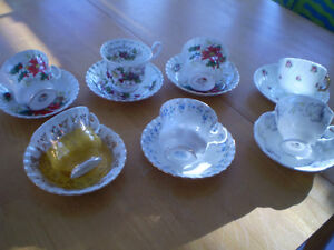 CUP AND SAUCERS ROYAL ALBERT, ADDERLY, HAND PAINTED