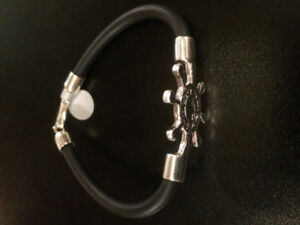 Hand Made Bracelet Silver925 Sailor Black Rubber by Bijoux Viara