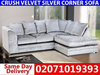 Silver Velvet Corner Sofa--Order Now!