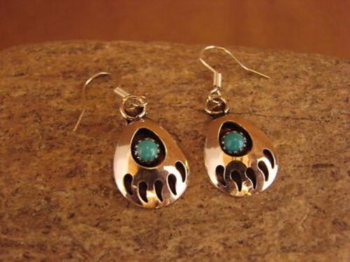 Native American Jewelry Sterling Silver Turquoise Bear Paw Dangle Earrings