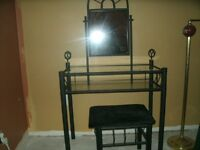 black metal vanity with bench chair,
