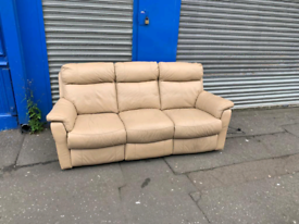 3 seater sofa in a taupe leather Hyde throughout £125 all reclining