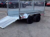 8x4 builders trailer galvanised with mesh sides