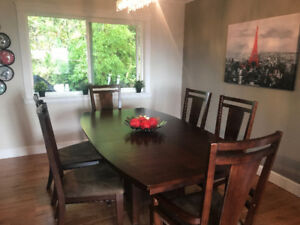 Solid Wood Dining Table and Six Chairs (and leaf)