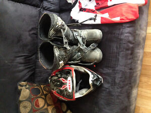 Motor Cross Boots and Helmet and Clothing